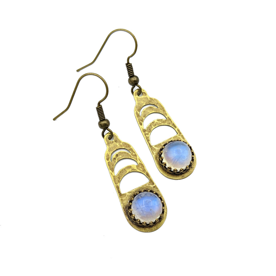 Moon Phase Earrings with rainbow moonstone