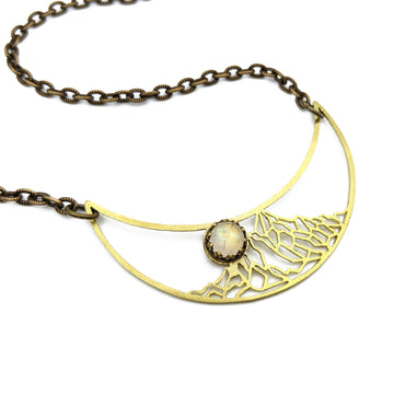 full moon alpine crescent necklace