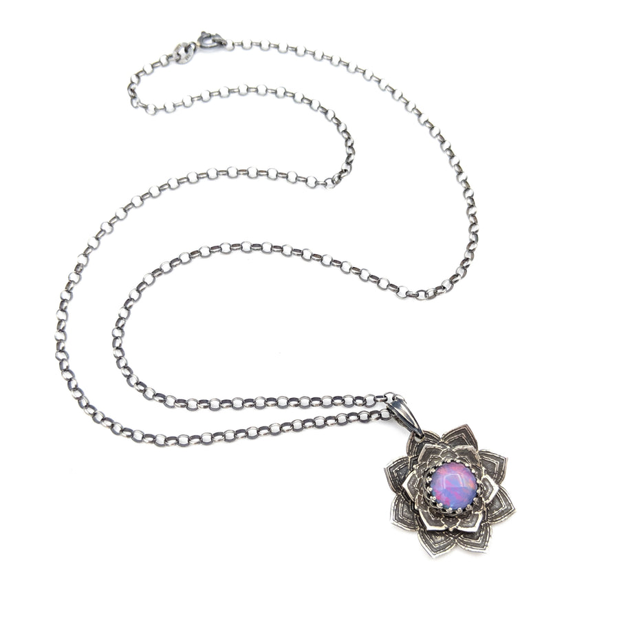 sterling silver flower mandala necklace with australian opal