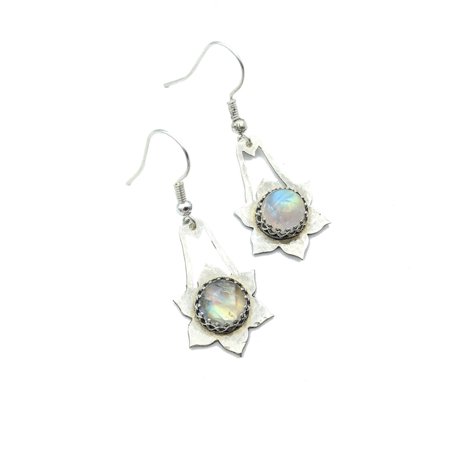 Hammered Sterling Silver and Moonstone Earrings