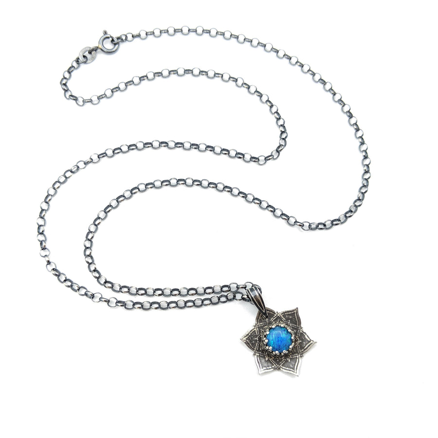 tiny sterling flower mandala necklace with australian opal