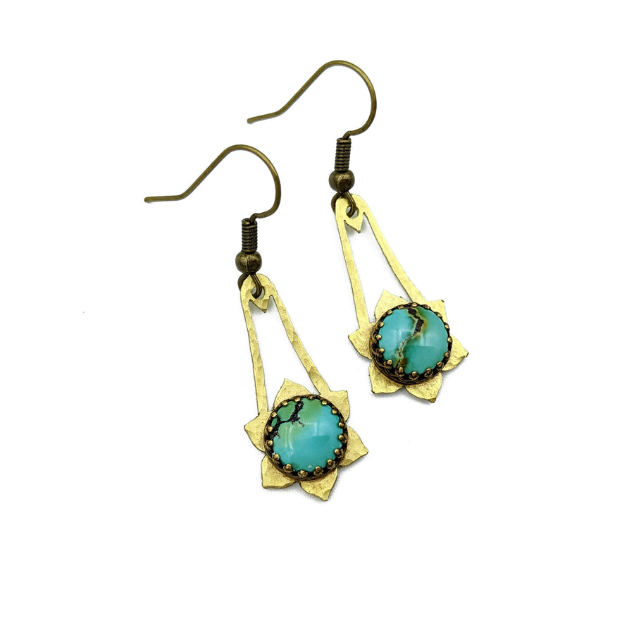 Hammered Brass and Turquoise Earrings