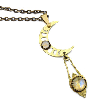 lunar phases crescent necklace with moonstone