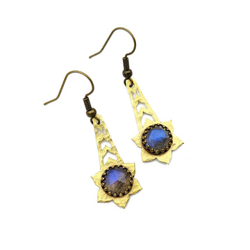 Hammered Brass and Labradorite Earrings
