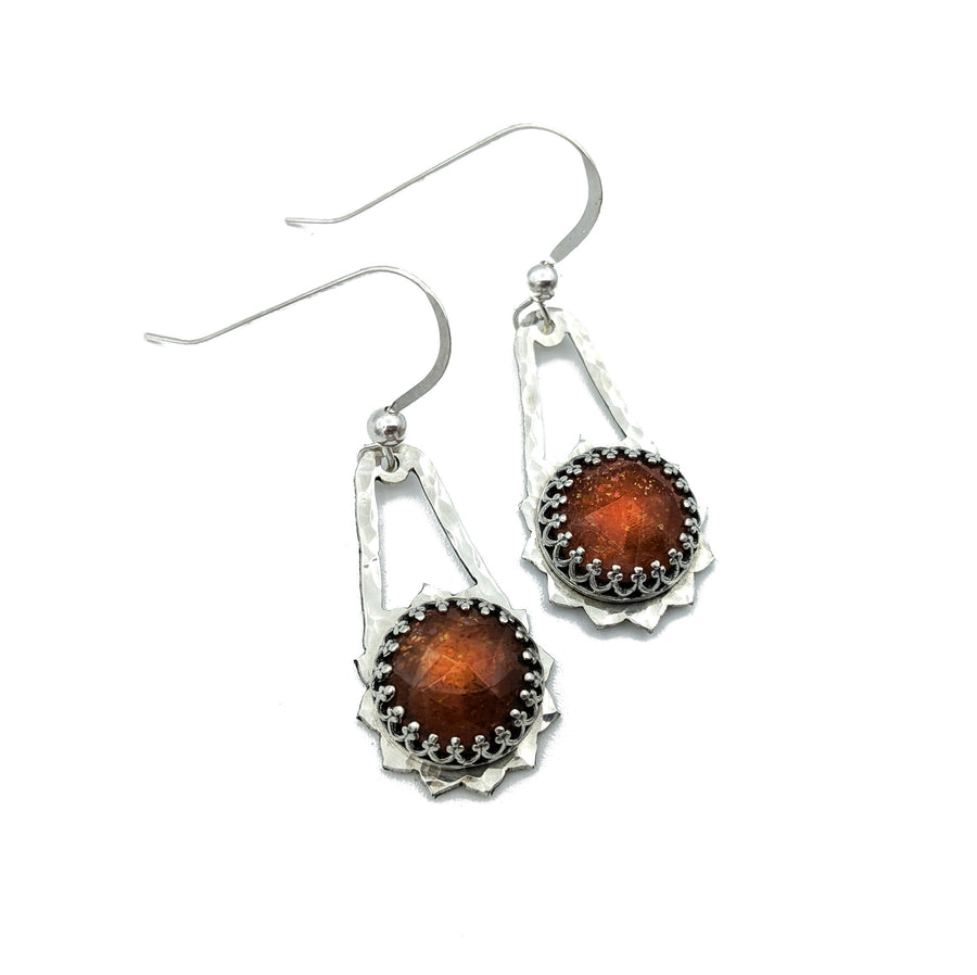 Hammered Sterling Silver and Sunstone Earrings