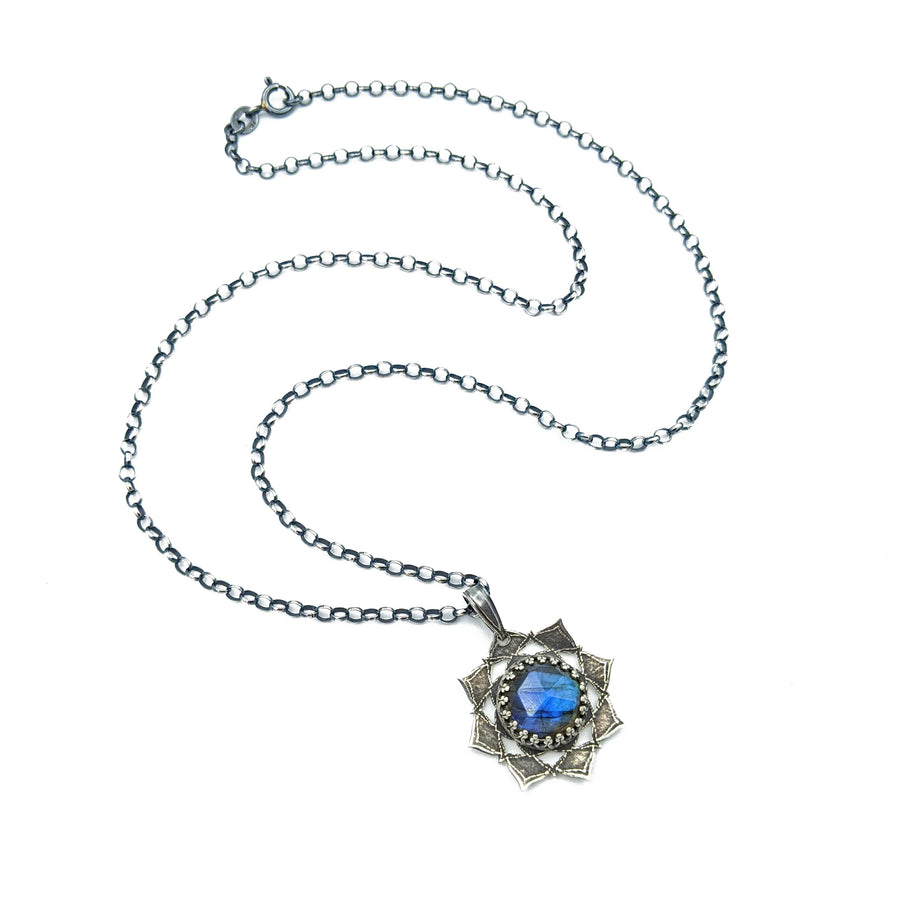 sterling silver flower mandala necklace with labradorite