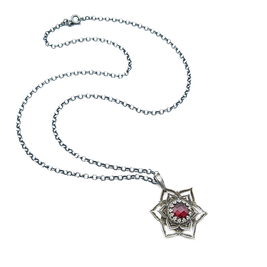 sterling silver flower mandala necklace with garnet