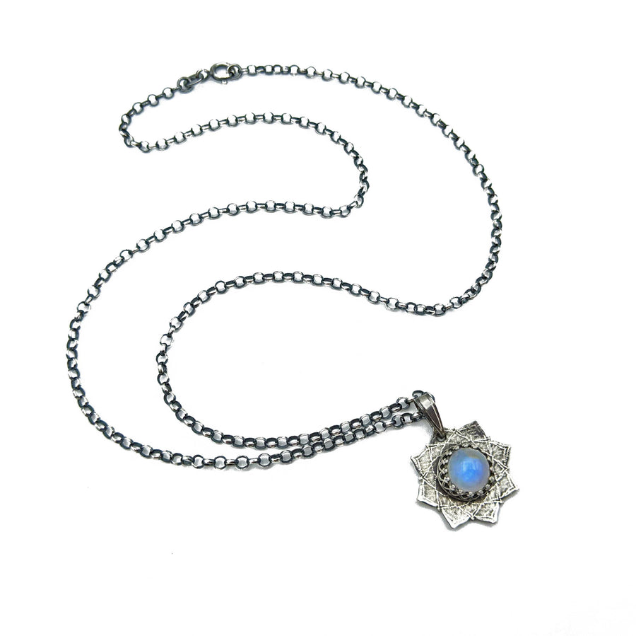 tiny sterling silver flower mandala necklace with moonstone