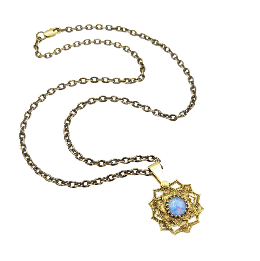 etched flower mandala necklace with australian opal