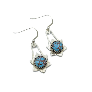 Hammered Sterling Silver and Turquoise Earrings