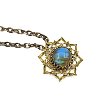 spinning flower mandala necklace with labradorite