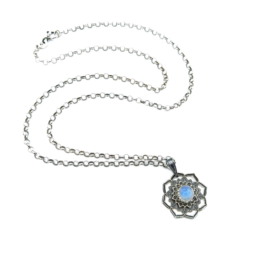sterling silver flower mandala necklace with moonstone