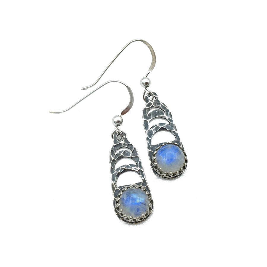 Sterling Moon Phase Earrings with rainbow moonstone