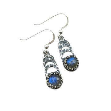 Sterling Moon Phase Earrings with Labradorite
