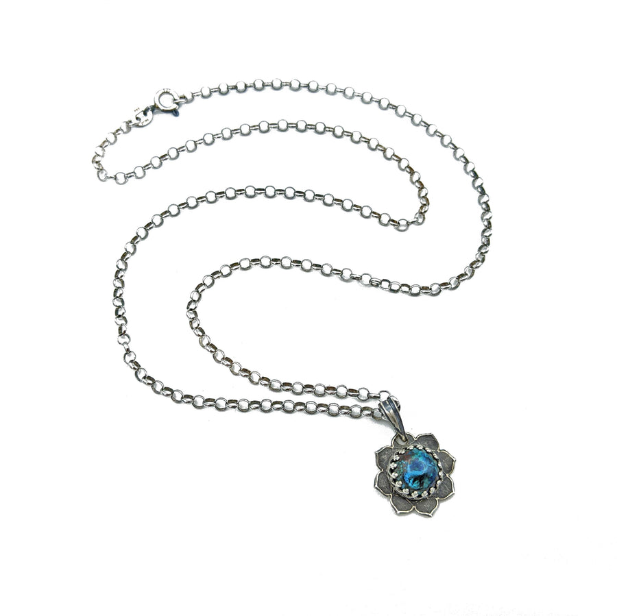 simple sterling silver flower mandala necklace with chrysocolla