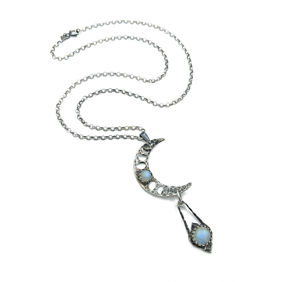 sterling lunar phases crescent necklace with moonstone