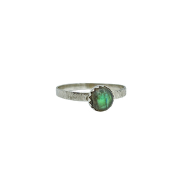 Textured Sterling Silver Ring with Labradorite - Size 7
