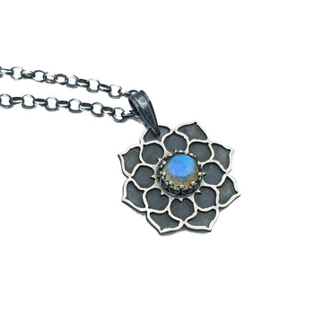 **RESERVED FOR KYLE** sterling silver flower mandala necklace with labradorite