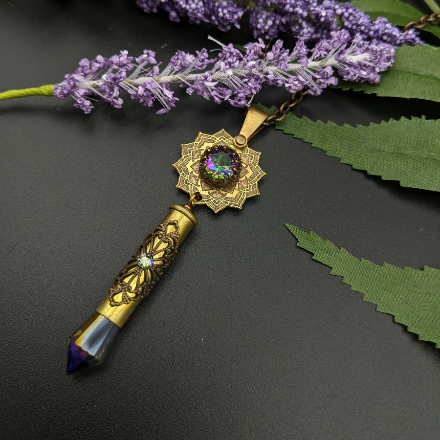blooming flower mandala necklace with mystic topaz