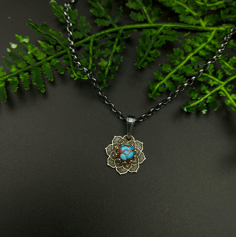 simple sterling silver flower mandala necklace with turquoise