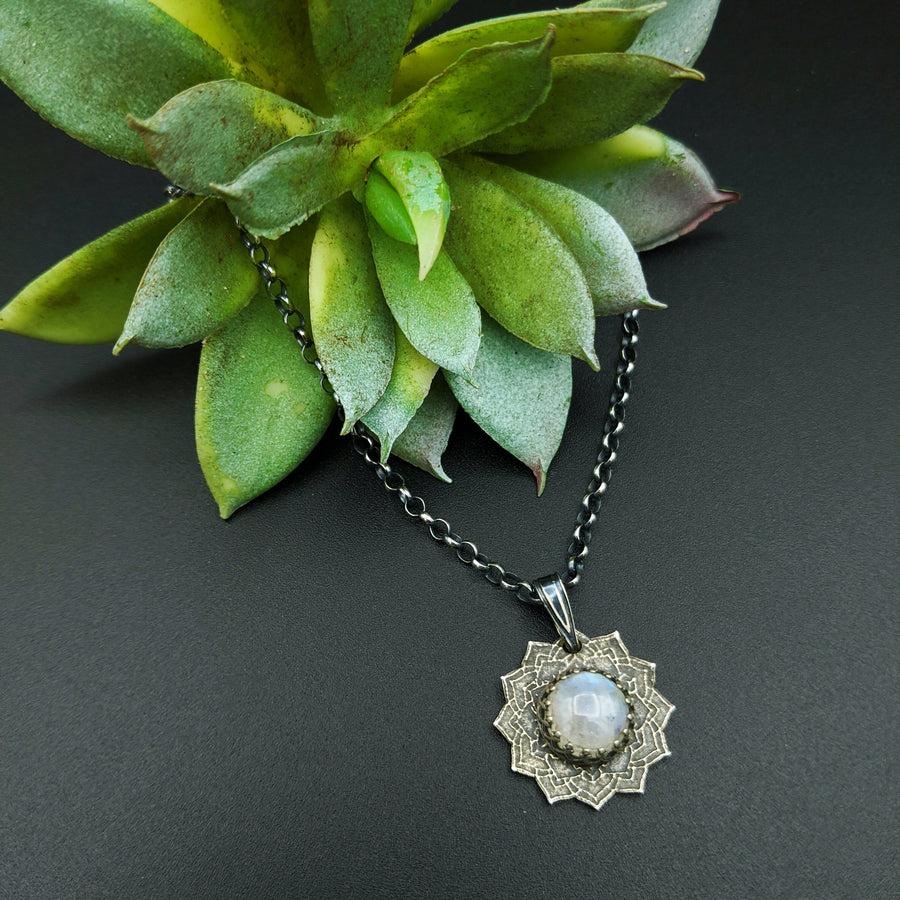 sterling silver flower mandala necklace with rainbow moonstone