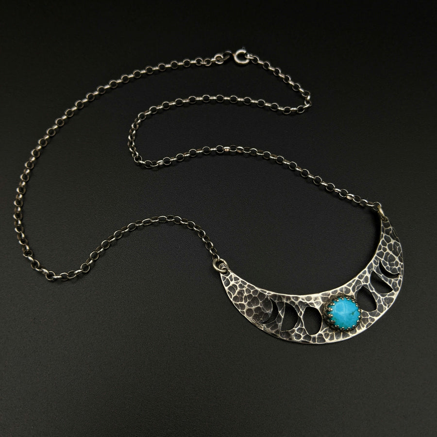 **RESERVED FOR ERIC** sterling silver moon phases necklace with turquoise