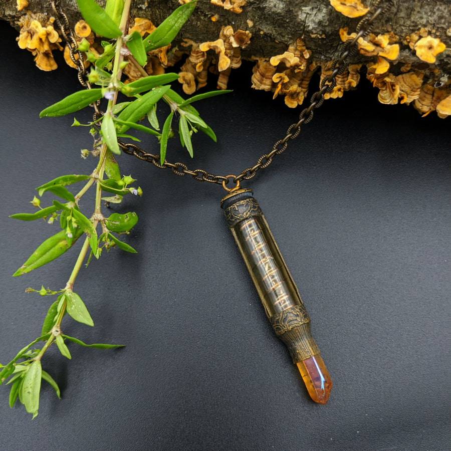 one of a kind bullet necklace with tangerine quartz