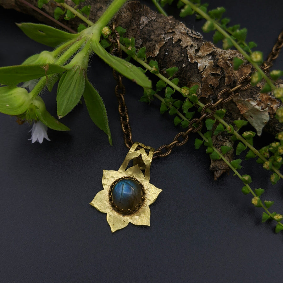 simple flower mandala necklace with labradorite