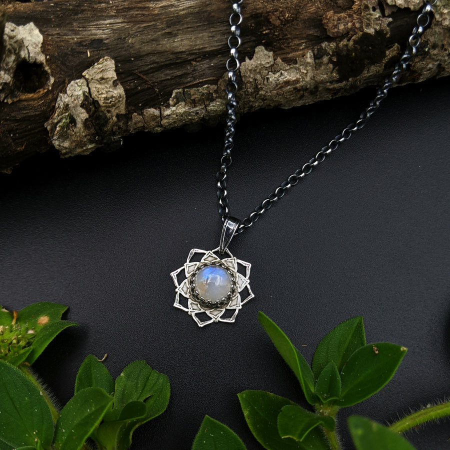 **RESERVED FOR JANET** simple sterling silver flower mandala necklaces