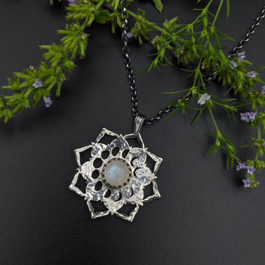 spinning sterling moon phase mandala necklace