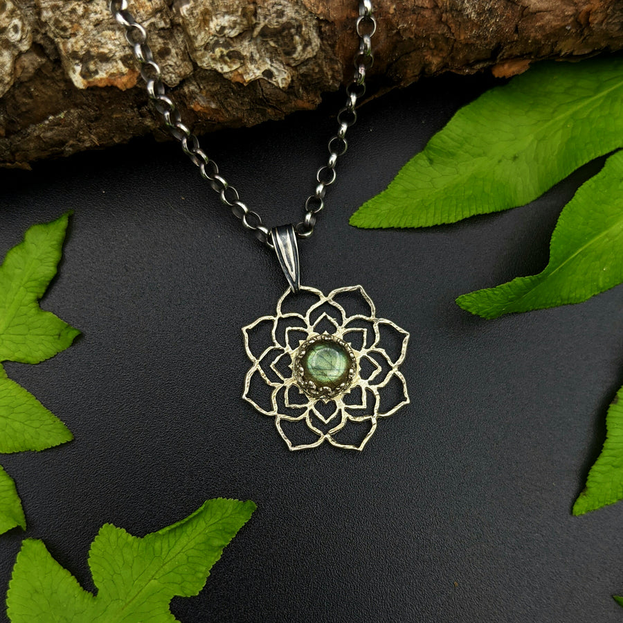 intricate sterling silver flower mandala necklace