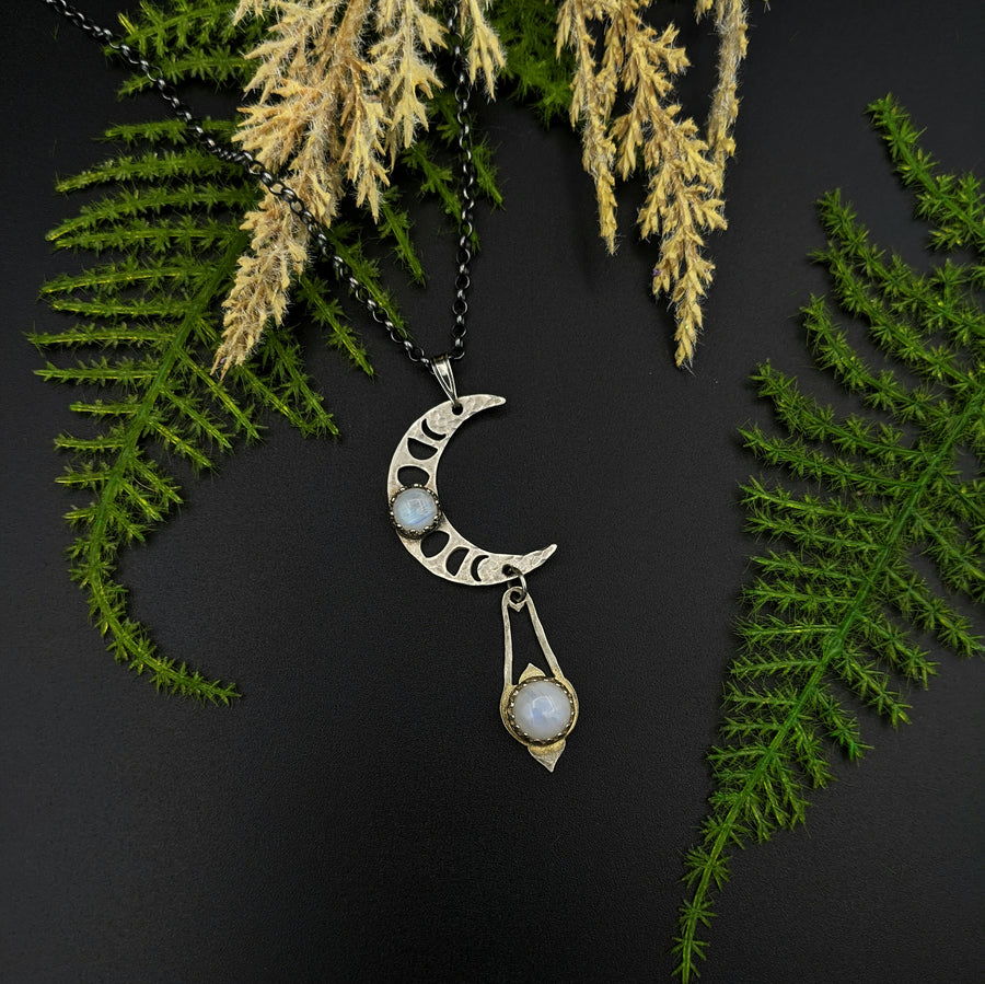 sterling lunar phases crescent necklace