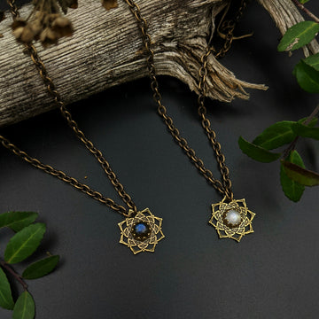 simple brass flower mandala necklace