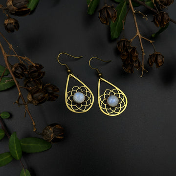 brass mandala earrings with moonstone
