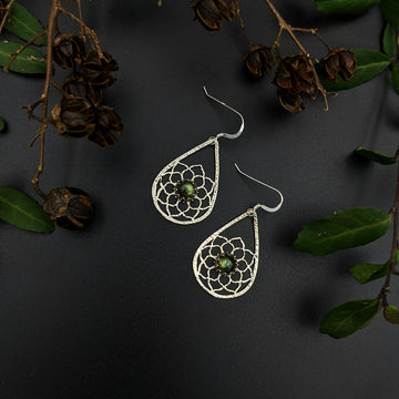sterling silver mandala earrings with labradorite