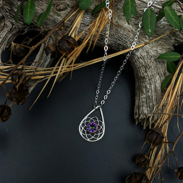 sterling silver teardrop necklace with mystic topaz