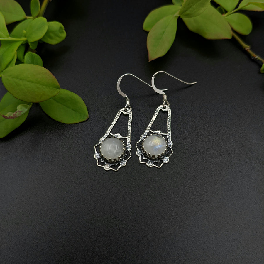 Hammered Sterling and Moonstone Earrings