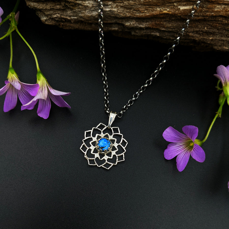 sterling silver flower mandala necklace with turquoise