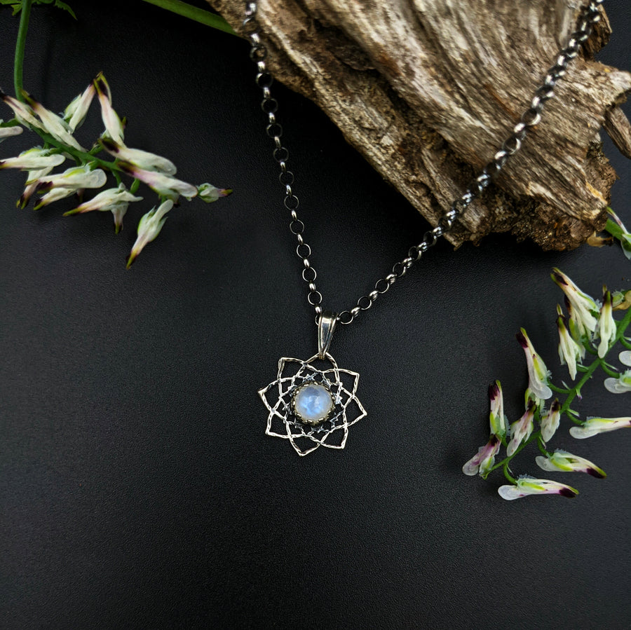 simple sterling silver flower mandala necklace with moonstone