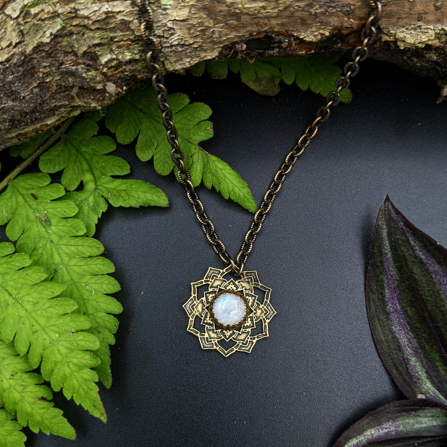 brass flower mandala necklace with moonstone