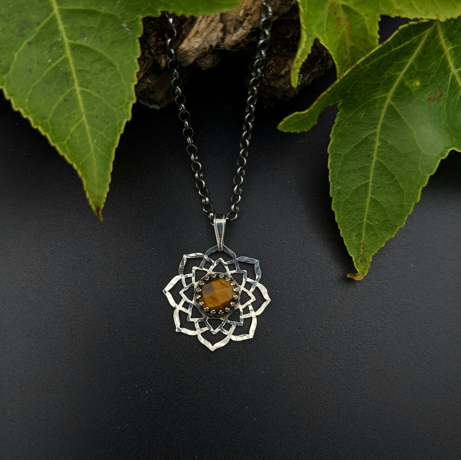 sterling silver flower mandala necklace with tiger eye