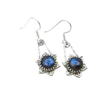 Hammered Sterling Silver and Labradorite Earrings