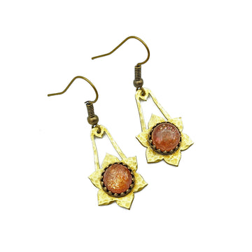 Hammered Brass and Sunstone Earrings