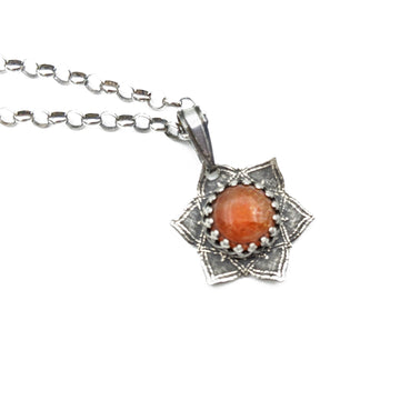 simple sterling silver flower mandala necklace with sunstone