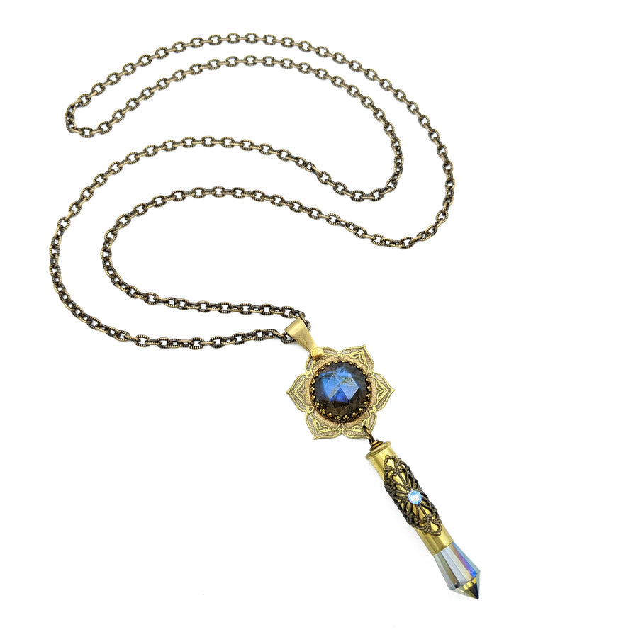 blooming flower mandala necklace with labradorite