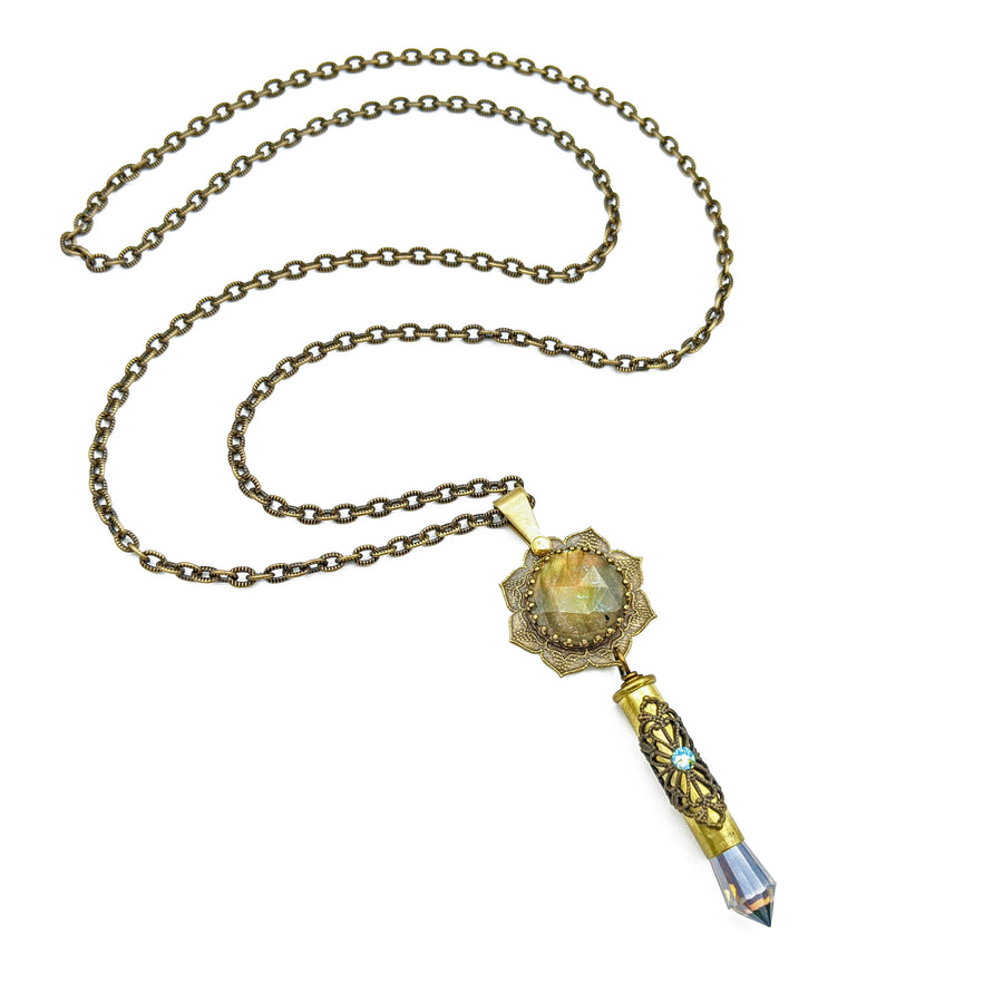 blooming flower mandala necklace with spectrolite