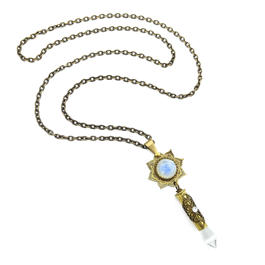 blooming flower mandala necklace with moonstone