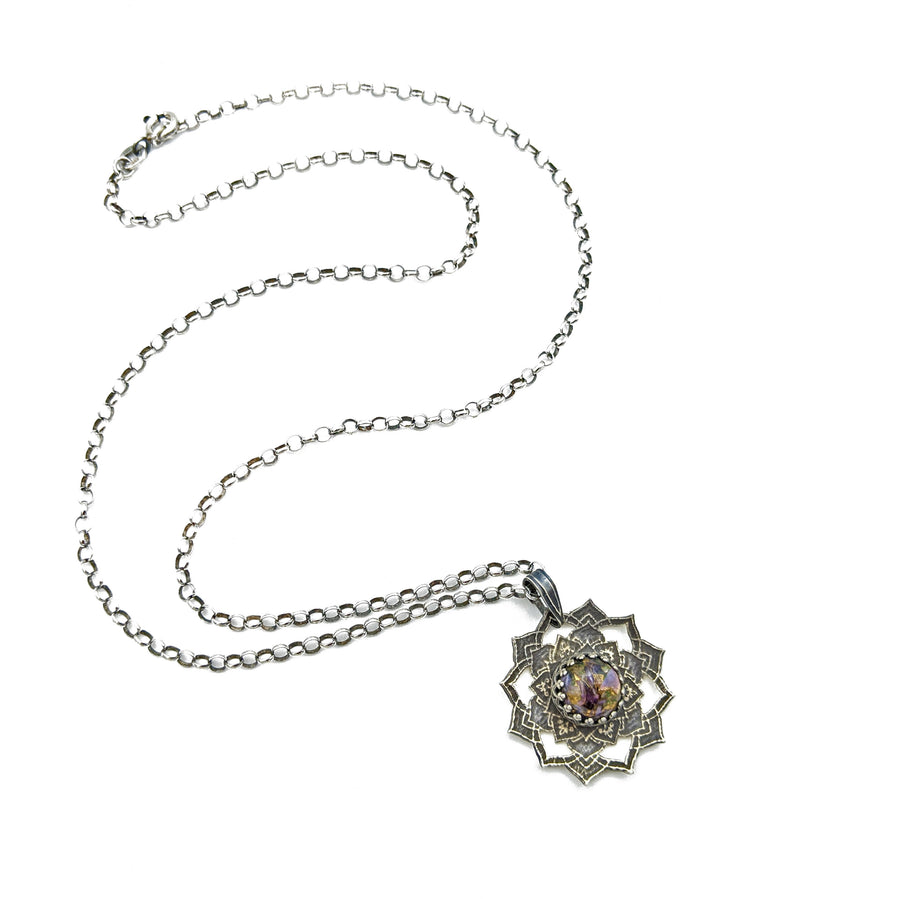 sterling silver flower mandala necklace with copper charoite