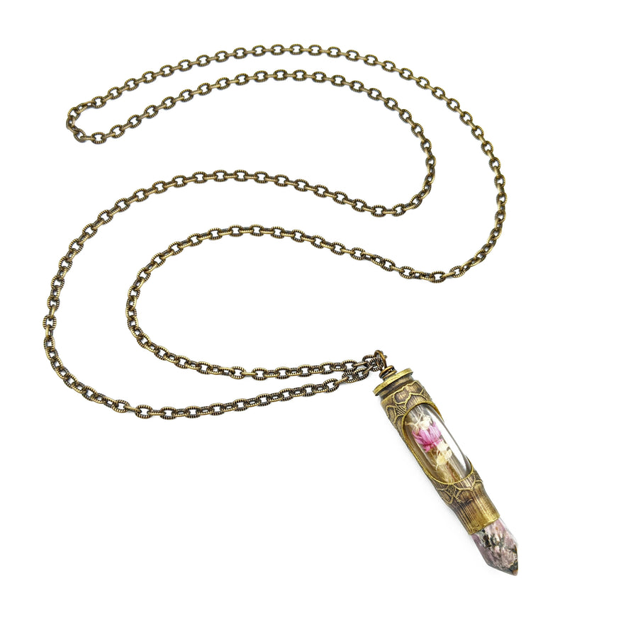 one of a kind etched bullet necklace with dried flowers