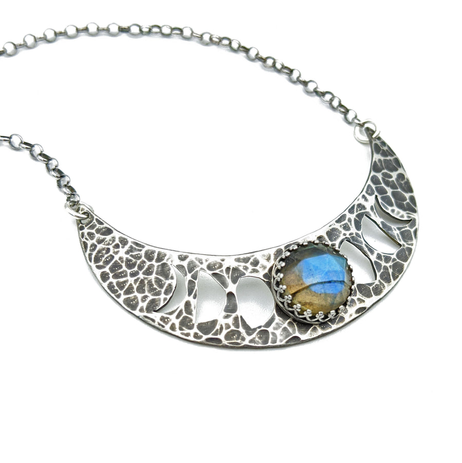 sterling silver moon phases necklace with labradorite